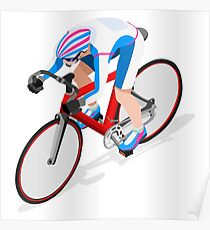 Cycling Track Sports 3D Isometric Poster