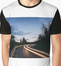 Lights on the asphalt, at sunset on a mountain road Graphic T-Shirt