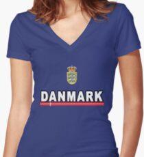 Danmark Danish National Team Jersey Style Women's Fitted V-Neck T-Shirt