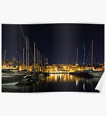 Blue Mast - Senglea Malta Magical Night  Poster