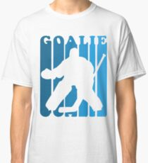 Retro 1980's Style Hockey Goalie Silhouette T-Shirt Goalie Hockey Sport  Classic T-Shirt