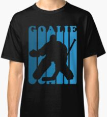 Retro 1970's Style Hockey Goalie Silhouette T-Shirt Goalie Hockey Sport  Classic T-Shirt