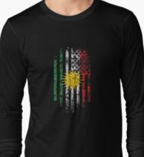 Kurdish and America Flag Combo Distressed Design Long Sleeve T-Shirt