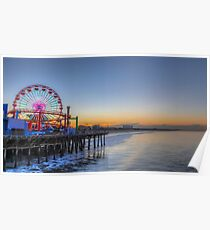 Sunrise at the pier Santa Monica, California  Poster