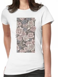Flowers & Swallows Womens Fitted T-Shirt
