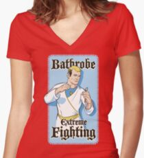 Bathrobe Extreme Fighting Women's Fitted V-Neck T-Shirt