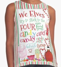 ELF We Elves four Basic Food group, Candy,Candy Canes,Candy Corn & Syrup Contrast Tank