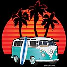 Split Window VW Bus Surfer Van with Palms by Frank Schuster
