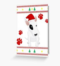 Miniature Bull Terrier ugly sweater Christmas T-shirt and gift Greeting Card