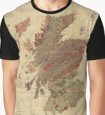 Vintage Geological Map of Scotland Graphic T-Shirt