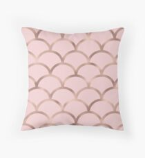 Rose gold mermaid scales Throw Pillow