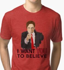 Mulder I Want To Believe Tri-blend T-Shirt