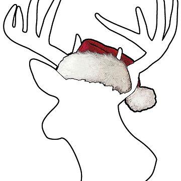 Christmas Santa Hat Reindeer  by mamancini