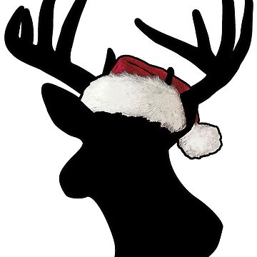 Christmas Santa Hat Reindeer Black by mamancini
