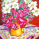 Yellow Jug with Bougainvillia by marlene veronique holdsworth