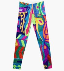 Brightly Colored Shapes and Patterns Leggings