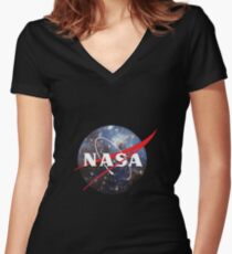 nasa space Women's Fitted V-Neck T-Shirt