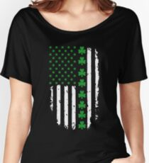 St. Patrick's Day Irish American Flag Women's Relaxed Fit T-Shirt