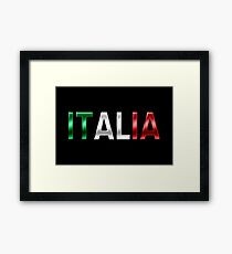 Italia - Italian Flag - Metallic Text Framed Print