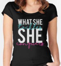 Was sie anpackt, sie erobert Tailliertes Rundhals-Shirt