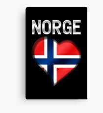 Norge - Norwegian Flag Heart & Text - Metallic Canvas Print