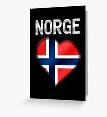 Norge - Norwegian Flag Heart & Text - Metallic Greeting Card