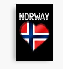 Norway - Norwegian Flag Heart & Text - Metallic Canvas Print