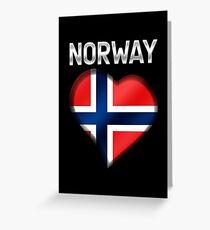 Norway - Norwegian Flag Heart & Text - Metallic Greeting Card