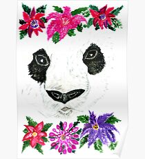 Panda with Flowers Poster
