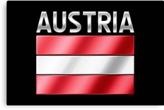 Austria - Austrian Flag & Text - Metallic by graphix