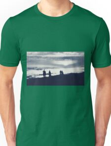 watching sunset at the beach in black and white Unisex T-Shirt