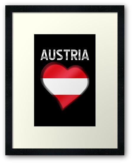 Austria - Austrian Flag Heart & Text - Metallic by graphix