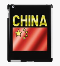 China - Chinese Flag & Text - Metallic iPad Case/Skin