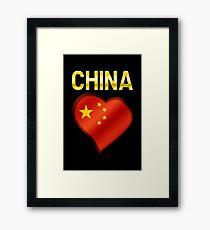 China - Chinese Flag Heart & Text - Metallic Framed Print