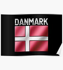 Danmark - Danish Flag & Text - Metallic Poster