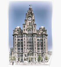 The Liver Building - Hand tinted effect Poster
