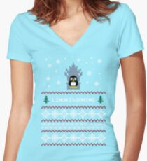LINUX IS COMING - CHRISTMAS SWEATER Women's Fitted V-Neck T-Shirt