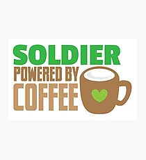 Soldier powered by coffee Photographic Print