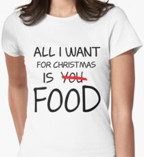 Christmas, Food, Funny, Hungry Womens Fitted T-Shirt