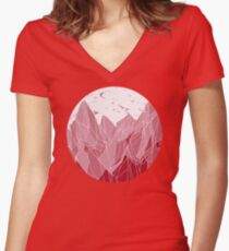 Sunset Mountain ! Women's Fitted V-Neck T-Shirt