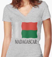 Madagascar flag Women's Fitted V-Neck T-Shirt