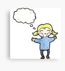 happy blond cartoon girl Canvas Print