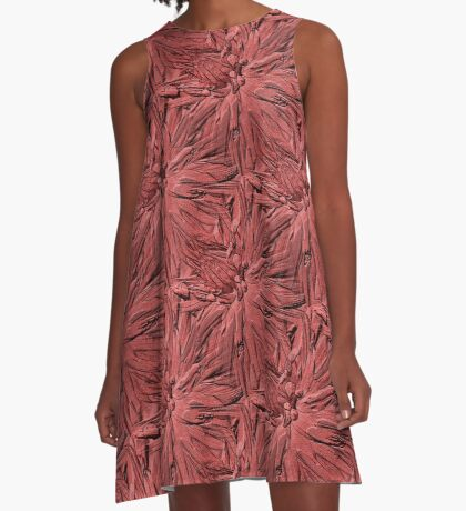 Dahlia Flower Petals Pattern In Dusty Rose A-Line Dress