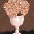 Dried Hydrangeas in a White Vase by Sarah Countiss