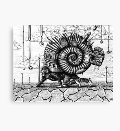Life in the Shell surreal ink pen drawing Canvas Print