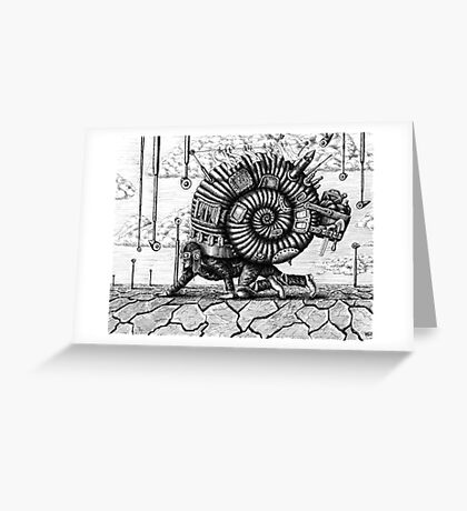 Life in the Shell surreal ink pen drawing Greeting Card