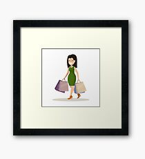 Young woman with shopping Framed Print