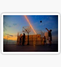 Basketball Game by the Sunset Sticker