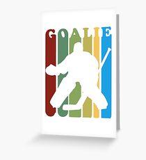 Retro 1970s Style Hockey Goalie Silhouette T-Shirt Goalie Hockey Sport  Greeting Card