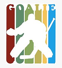 Retro 1970s Style Hockey Goalie Silhouette T-Shirt Goalie Hockey Sport  Photographic Print
